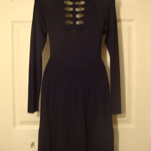 Victoria's Secret Black Polyester XS Fitted Dress